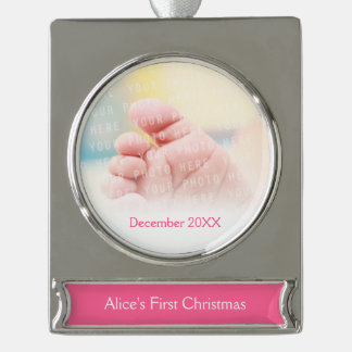 Baby's First Christmas - Girl Silver Plated Banner Ornament