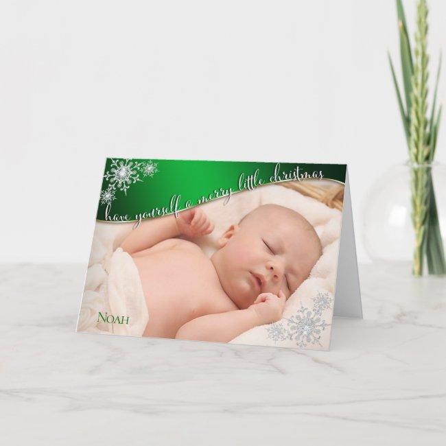 Baby's First Christmas Green - YOUR BABY'S PHOTO
