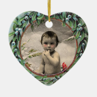 BABY'S FIRST CHRISTMAS HEART  PHOTO TEMPLATE CERAMIC ORNAMENT