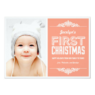 Baby's First Christmas Holiday Cards - Salmon