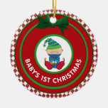 Babys First Christmas Holiday Elf Personalized Christmas Tree Ornaments