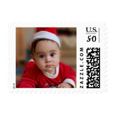 Baby's First Christmas Holiday Personalized Photo Postage at Zazzle