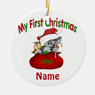 Babys First Christmas Kitty Personalized Ceramic Ornament