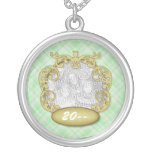 Baby's First Christmas Light Green Plaid Round Pendant Necklace