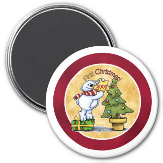 Baby's First Christmas 3 Inch Round Magnet