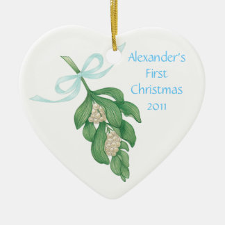 Baby's First Christmas~Mistletoe Ornament (Boy)