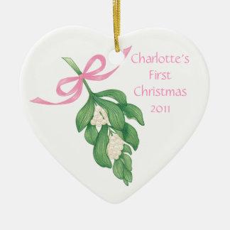 Baby's First Christmas~Mistletoe Ornament (Girl)