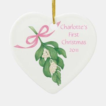 Toddler & Baby themed Baby's First Christmas~Mistletoe Ornament (Girl)
