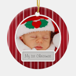 Baby's First Christmas Mod Stripes Pattern Red Ceramic Ornament