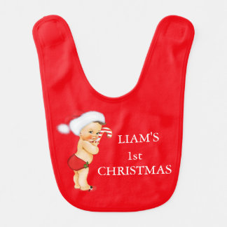 Baby's First Christmas Monogram Personalized Boy Bib