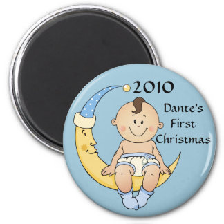 Baby's First Christmas Moon Boy Blue Customizable 2 Inch Round Magnet