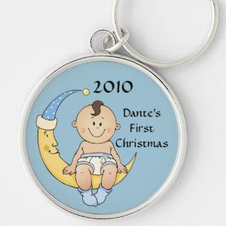 Baby's First Christmas Moon Boy Blue Customizable Keychain