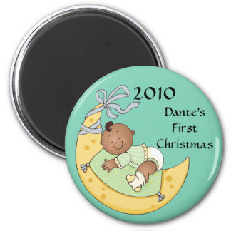 Baby's First Christmas Moon Boy Green Customizable 2 Inch Round Magnet
