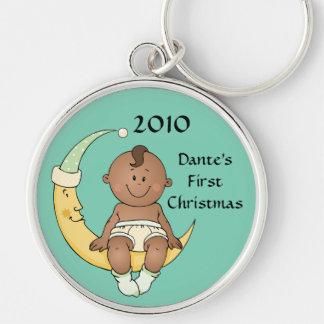 Baby's First Christmas Moon Boy Green Customizable Keychain