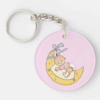 Baby's First Christmas Moon Girl Customizable Keychain