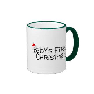 Babys First Christmas Ringer Coffee Mug