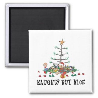 Baby's First Christmas Naughty But Nice 2 Inch Square Magnet