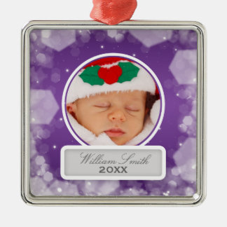 Baby's First Christmas Night Sparkle Purple Metal Ornament