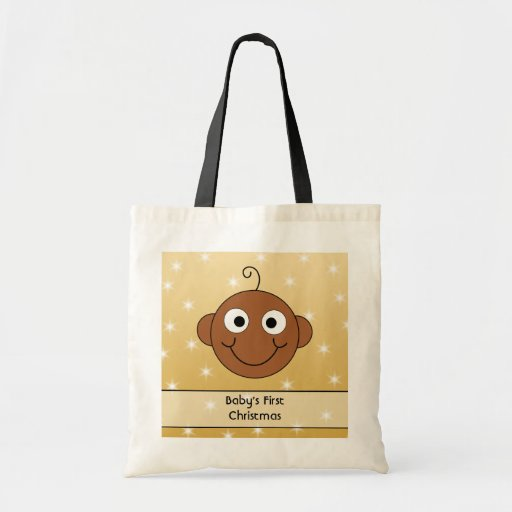 Baby's First Christmas. On Gold Color Background. Budget Tote Bag