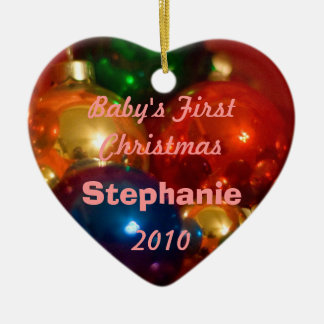 baby's first Christmas ornamanet, girl Ceramic Ornament