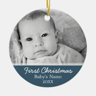Babys First Christmas Double-Sided Ceramic Round Christmas Ornament