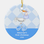 Baby's First Christmas Ornament Baby Boy Stork