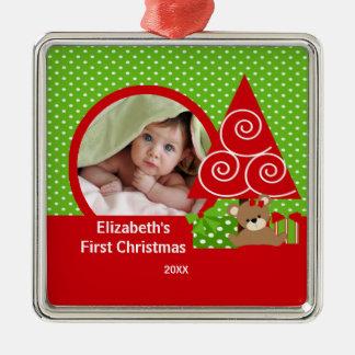 Babys First Christmas Ornament Bear Girl Photo