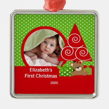 Toddler & Baby themed Babys First Christmas Ornament Bear Girl Photo