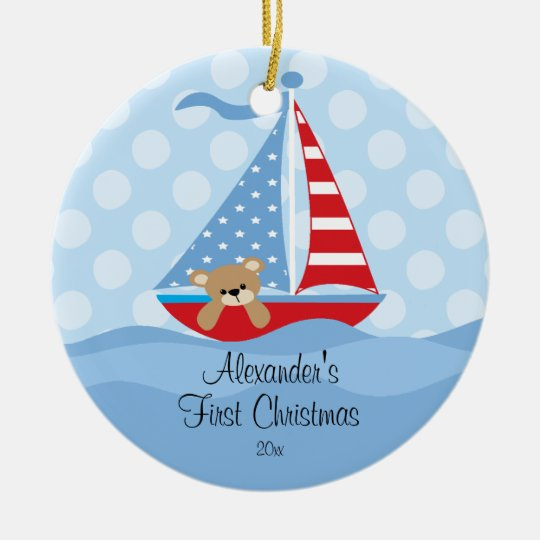 babys first christmas ornament sailboat baby boy - Baby Boy First Christmas Ornament