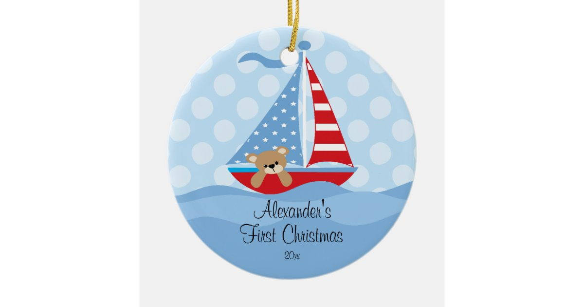 Baby's First Christmas Ornament Sailboat Baby Boy | Zazzle.com