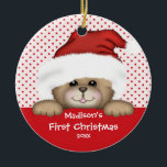 """Baby's First Christmas Ornament Santa Bear<br><div class=""""desc"""">Baby's First Christmas Ornament features an adorable bear wearing a Santa hat set on a red & white polka dotted background! Available in a heart shape in our shop! Personalize with your baby information and date and you're all set to go! Wonderful dated keepsake gift for your baby's 1st christmas....</div>"""