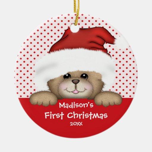 Baby's First Christmas Ornament Santa Bear