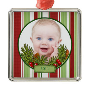 Baby's First Christmas Ornament - Square Shape ornament