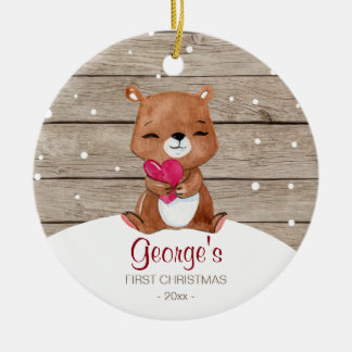 Baby's first Christmas ornament | watercolor bear