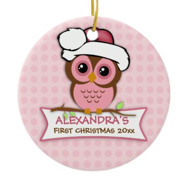 Christmas Themed Baby's First Christmas Owl Ornament