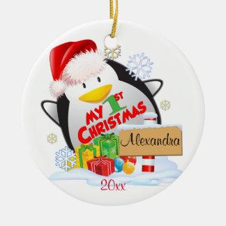 Baby's First Christmas Penguin Custom Ceramic Ornament