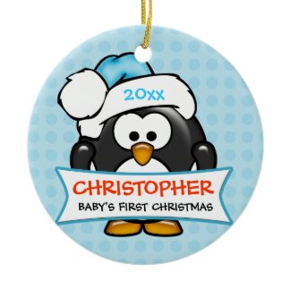 Baby's First Christmas Penguin Ornament ornament