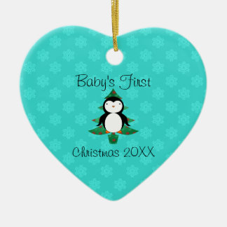 Baby's first christmas penguin turquois snowflakes ceramic ornament