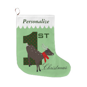 babys first christmas personalized deer stocking
