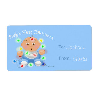 """Baby's First Christmas"" Personalized Gift Tags Shipping Labels"