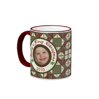 Babys First Christmas Personalized Photo Ringer Coffee Mug