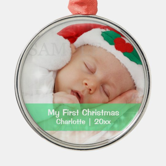 Baby's First Christmas Personalized Photo Template Metal Ornament