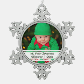 Babys First Christmas Personalized Photo Template Ornament