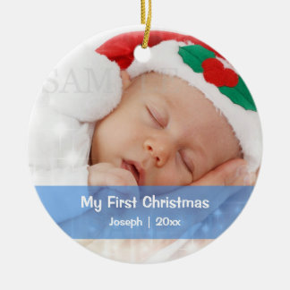 Baby's First Christmas Personalized Photo Template Double-Sided Ceramic Round Christmas Ornament
