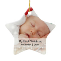 Baby's First Christmas Personalized Photo Template Ornament