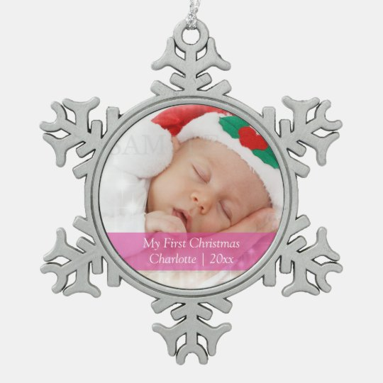 Babys First Christmas Personalized Photo Template Snowflake Pewter Christmas Ornament