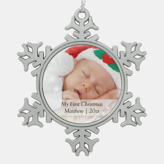 Babys First Christmas Personalized Photo Template Snowflake Pewter