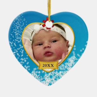 Baby's First Christmas Photo and Birthday Ceramic Ornament