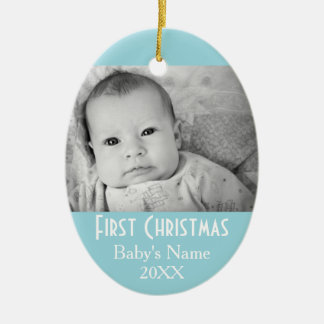 Baby's First Christmas Photo - Blue Boy Background Ceramic Ornament