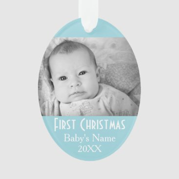 Toddler & Baby themed Baby's First Christmas Photo - Blue Boy Background Ornament